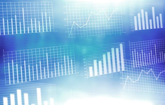 modré pozadí grafů